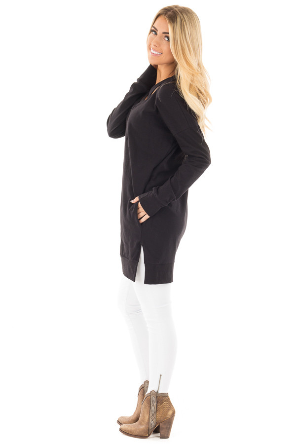 Black Tunic with Criss Cross Neckline and Side Pockets side full body