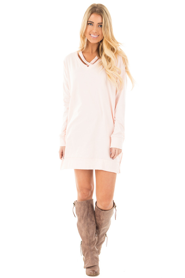 Soft Pink Tunic with Criss Cross Neckline and Side Pockets front full body