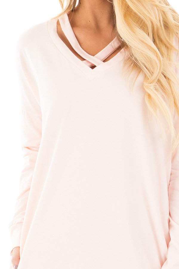 Soft Pink Tunic with Criss Cross Neckline and Side Pockets detail