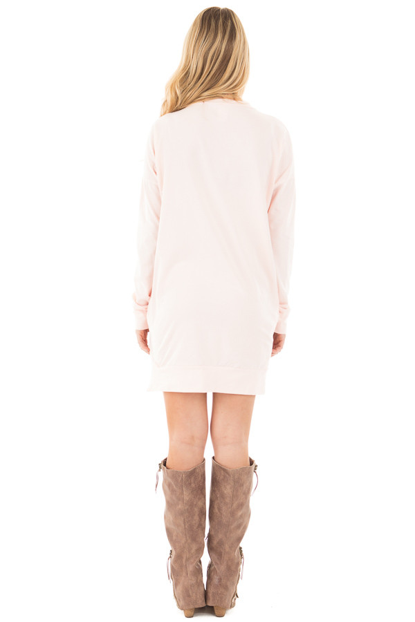 Soft Pink Tunic with Criss Cross Neckline and Side Pockets back full body