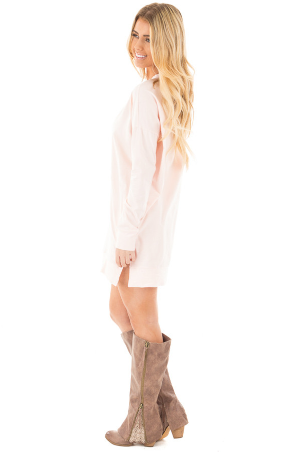 Soft Pink Tunic with Criss Cross Neckline and Side Pockets side full body