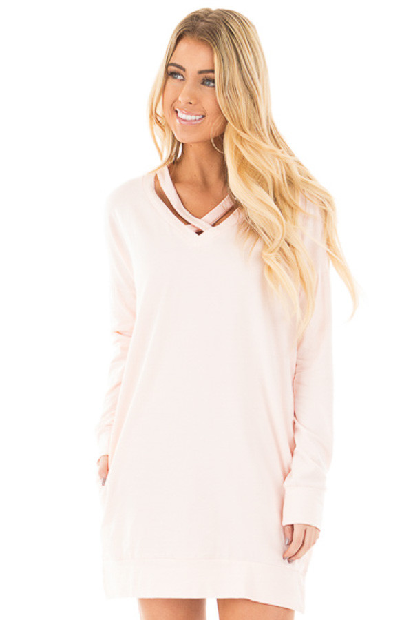 Soft Pink Tunic with Criss Cross Neckline and Side Pockets front close up