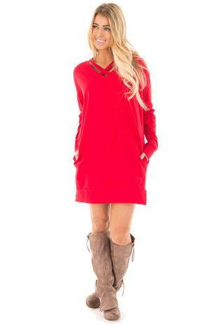 Red Tunic with Criss Cross Neckline and Side Pockets front full body