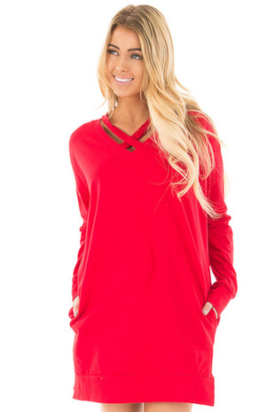 Red Tunic with Criss Cross Neckline and Side Pockets front close up