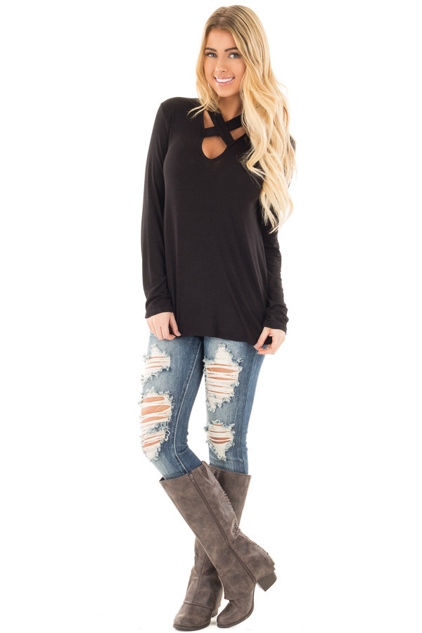 Black Key Hole Back with Criss Cross V Neck Top front full body