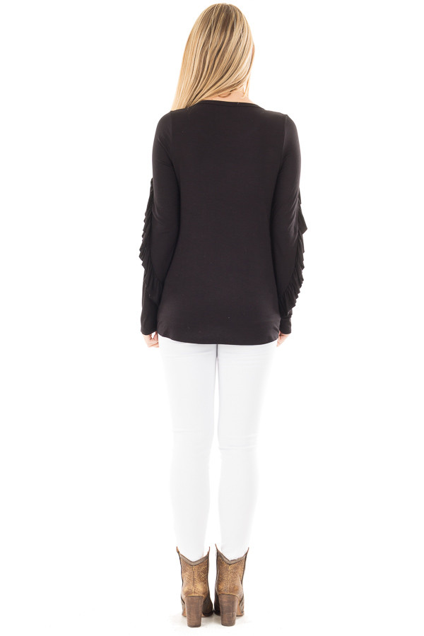 Black Long Sleeve Top with Ruffle Sleeve Detail back full body