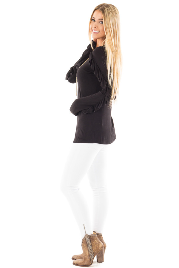 Black Long Sleeve Top with Ruffle Sleeve Detail side full body