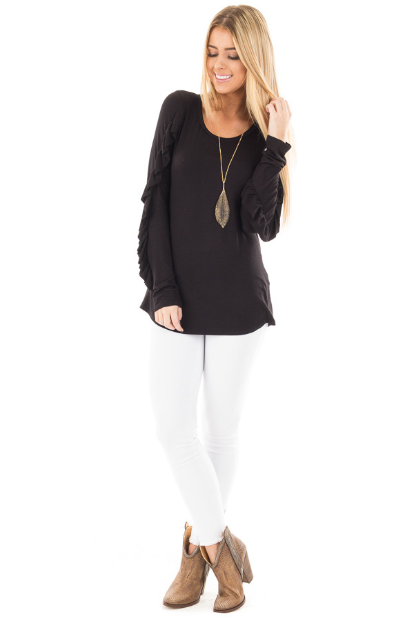 Black Long Sleeve Top with Ruffle Sleeve Detail front full body