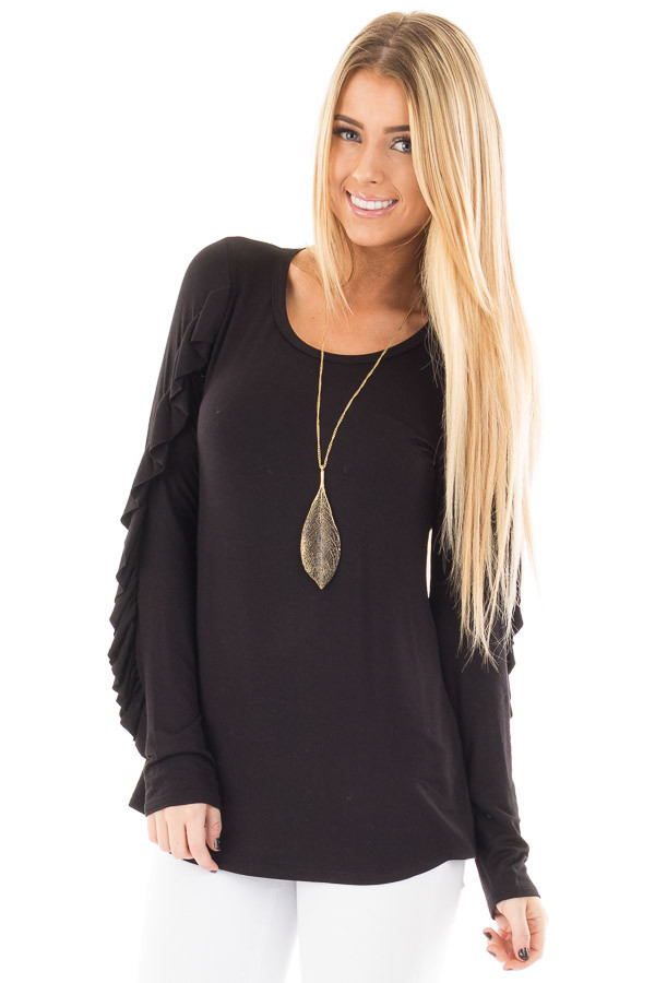 Black Long Sleeve Top with Ruffle Sleeve Detail front close up