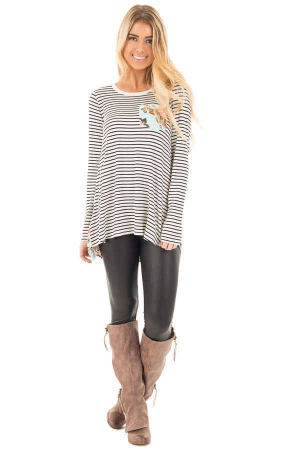 Black Stripes with Mint Floral Back and Front Pocket Top front full body
