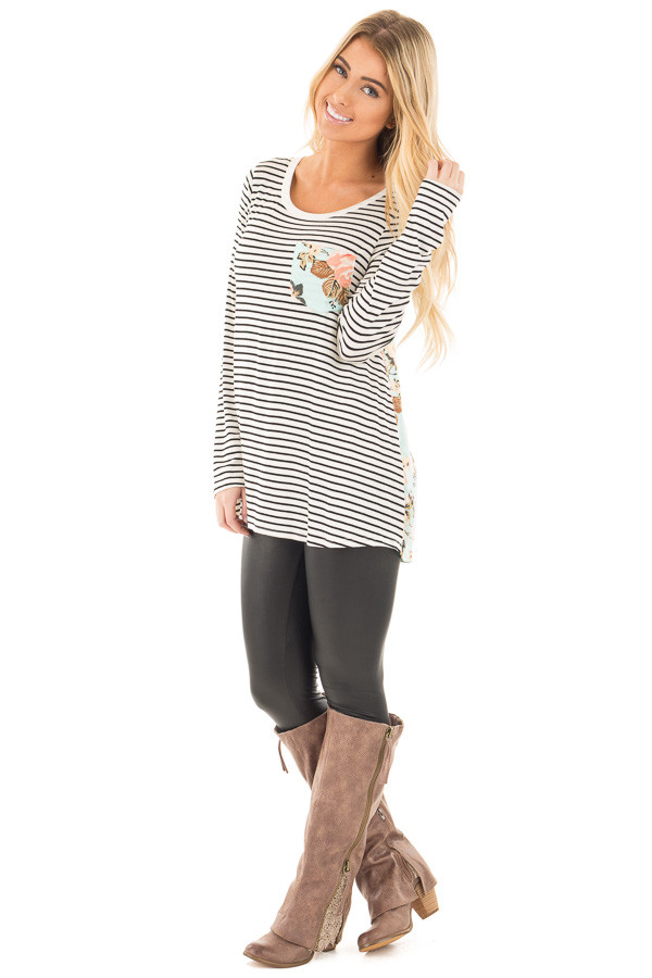 Black Stripes with Mint Floral Back and Front Pocket Top front side full body