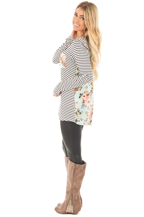 Black Stripes with Mint Floral Back and Front Pocket Top side full body