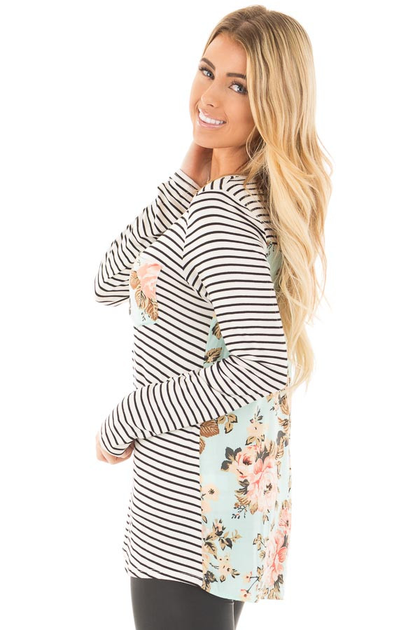 Black Stripes with Mint Floral Back and Front Pocket Top back full body