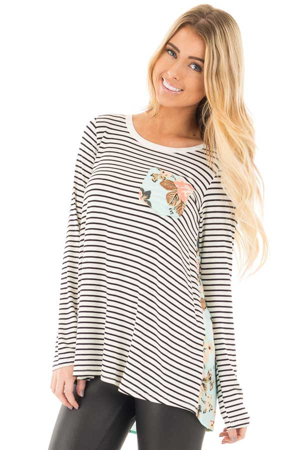 Black Stripes with Mint Floral Back and Front Pocket Top front close up