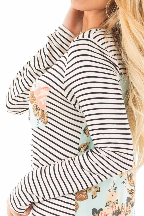 Black Stripes with Mint Floral Back and Front Pocket Top detail