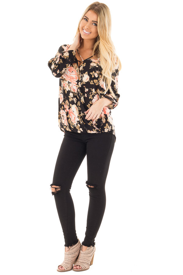 Black Long Sleeve Floral Hi-Low Wrap with Criss Cross Top front full body