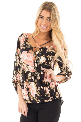 Black Long Sleeve Floral Hi-Low Wrap with Criss Cross Top front close up