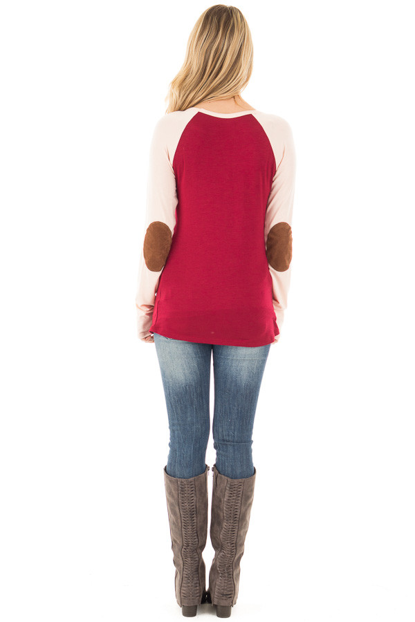 Burgundy Raglan Peach Sleeve Top with Suede Elbow and Buttons back full body