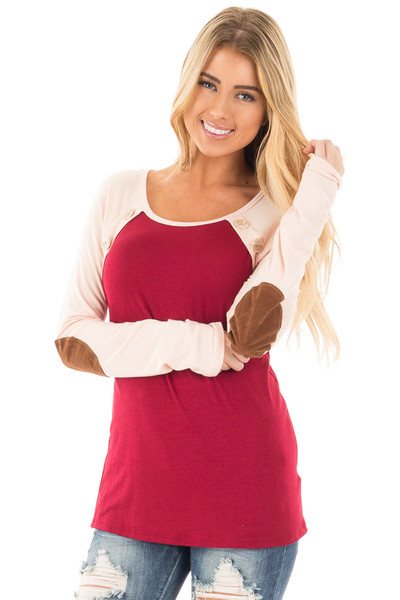 Burgundy Raglan Peach Sleeve Top with Suede Elbow and Buttons front close up