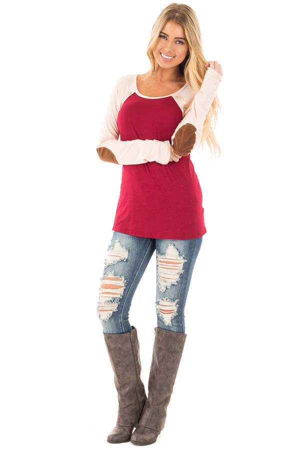 Burgundy Raglan Peach Sleeve Top with Suede Elbow and Buttons front full body