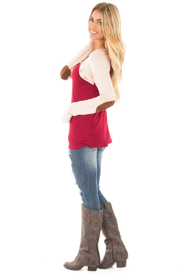 Burgundy Raglan Peach Sleeve Top with Suede Elbow and Buttons side full body