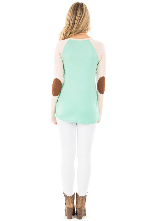 Mint Raglan Blush Sleeve Top with Suede Elbow and Buttons back full body