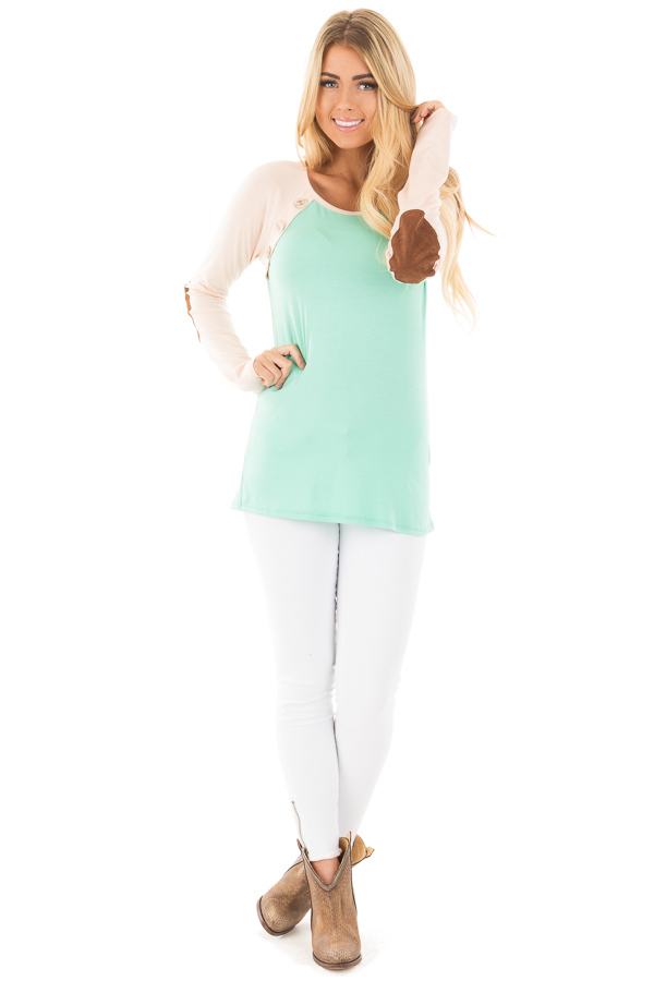 Mint Raglan Blush Sleeve Top with Suede Elbow and Buttons front full body
