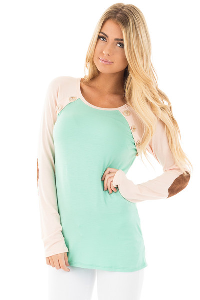 Mint Raglan Blush Sleeve Top with Suede Elbow and Buttons front close up