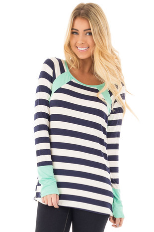 Navy and Ivory Striped Long Sleeve Tee with Mint Contrast front close up