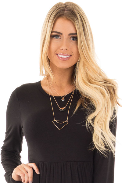 Gold Layered Geometric Pendent Detail Necklace