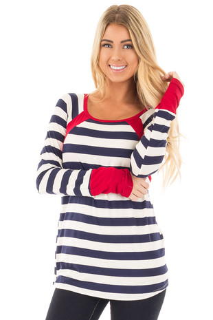 Navy and Ivory Striped Long Sleeve Tee with Red Contrast front close up