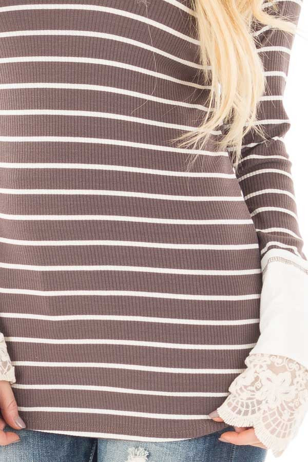 Mocha and Ivory Striped Ribbed Top with Ivory Lace Cuffs detail