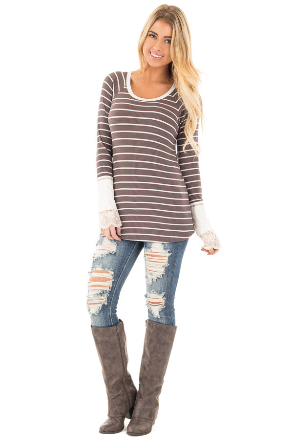 Mocha and Ivory Striped Ribbed Top with Ivory Lace Cuffs front full body