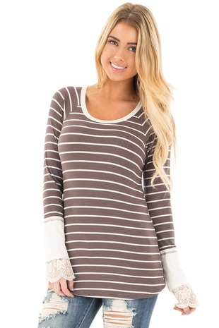 Mocha and Ivory Striped Ribbed Top with Ivory Lace Cuffs front close up