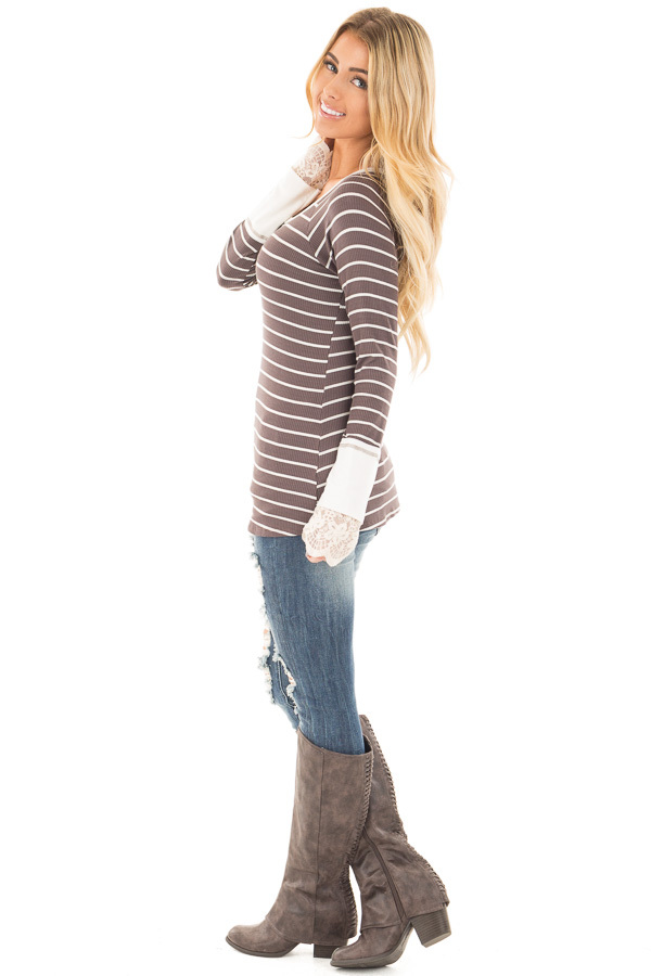 Mocha and Ivory Striped Ribbed Top with Ivory Lace Cuffs side full body