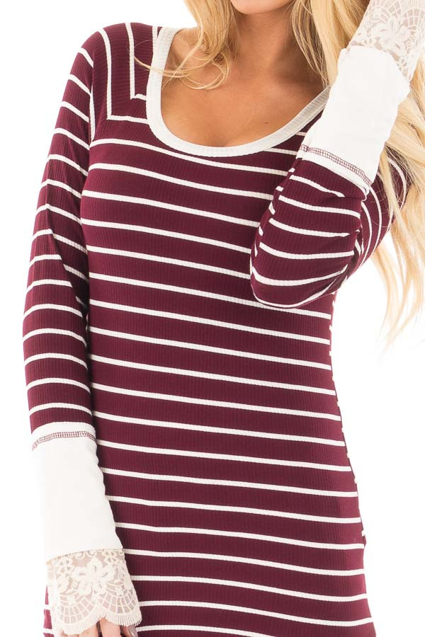Burgundy and Ivory Striped Ribbed Top with Ivory Lace Cuffs detail