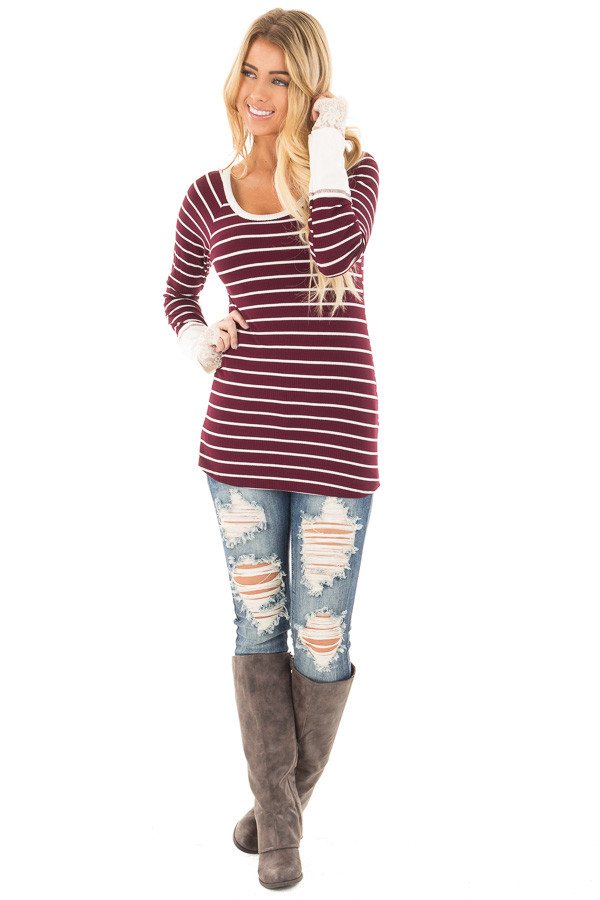 Burgundy and Ivory Striped Ribbed Top with Ivory Lace Cuffs front full body