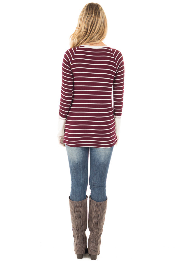 Burgundy and Ivory Striped Ribbed Top with Ivory Lace Cuffs back full body