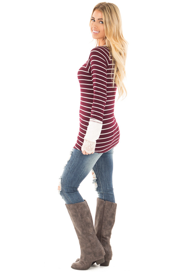 Burgundy and Ivory Striped Ribbed Top with Ivory Lace Cuffs side full body