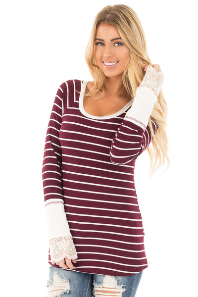 Burgundy and Ivory Striped Ribbed Top with Ivory Lace Cuffs front close up