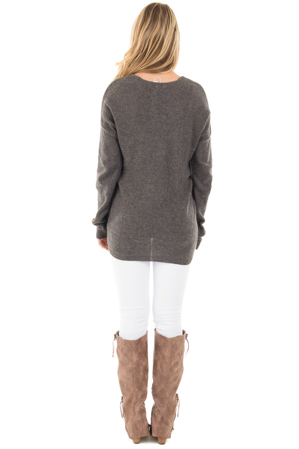 Charcoal Wrap Style Knit Long Sleeve Sweater back full body