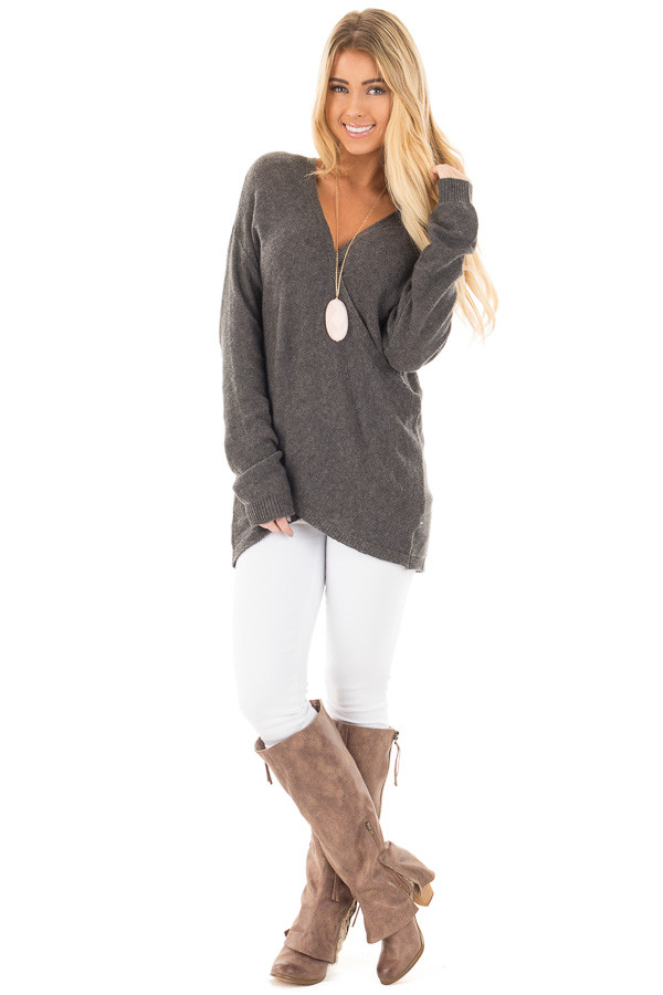 Charcoal Wrap Style Knit Long Sleeve Sweater front full body