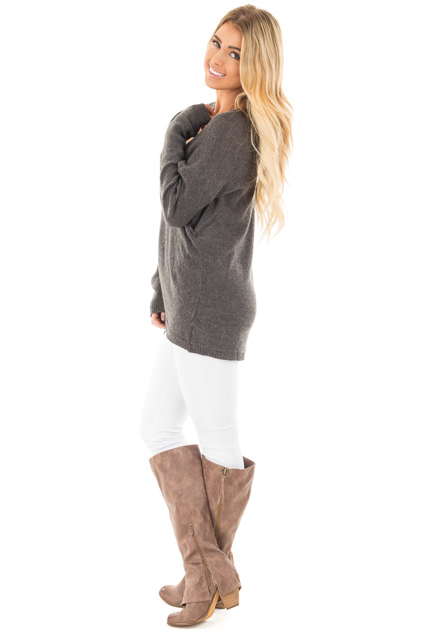 Charcoal Wrap Style Knit Long Sleeve Sweater side full body