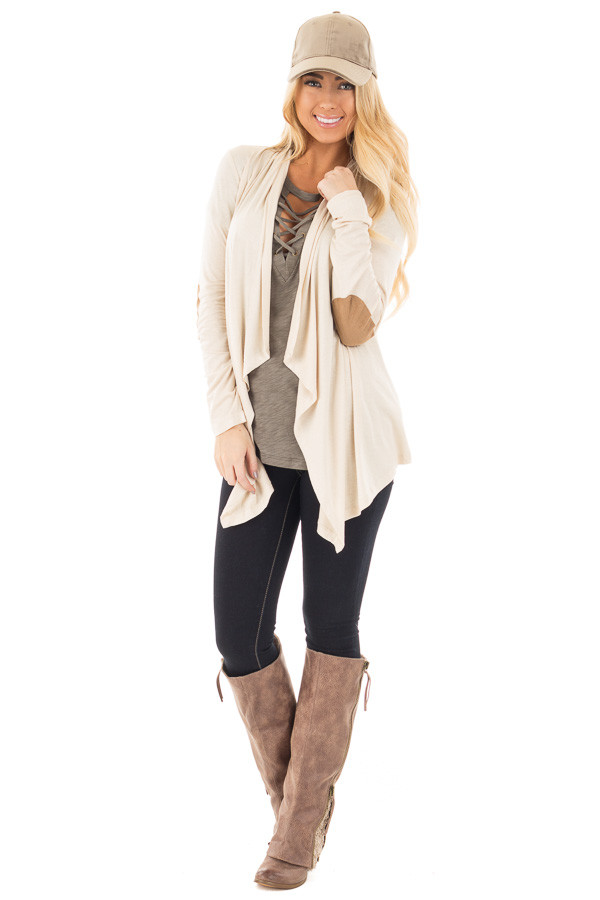 Beige Open Cardigan with Draped Front and Elbow Patch Detail front full body