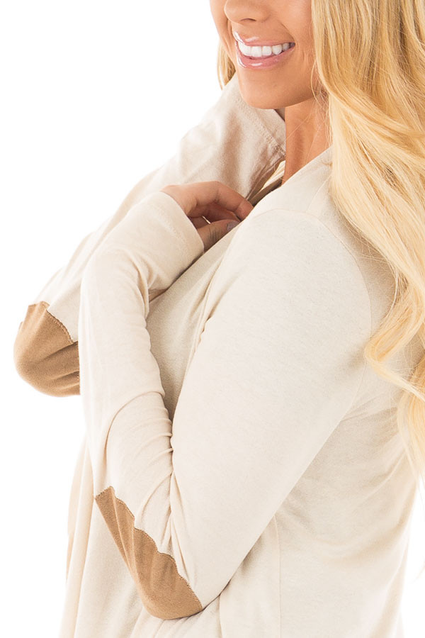 Beige Open Cardigan with Draped Front and Elbow Patch Detail detail