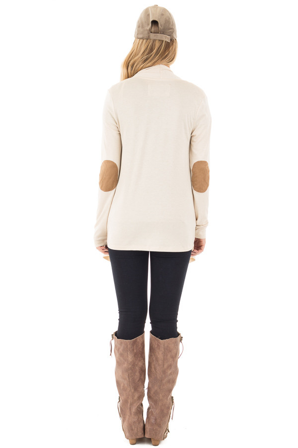 Beige Open Cardigan with Draped Front and Elbow Patch Detail back full body