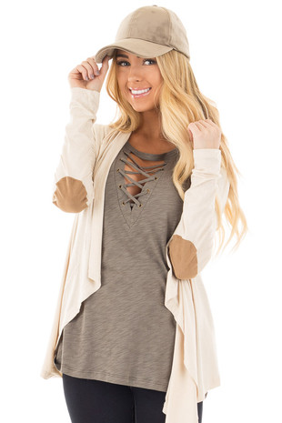 Beige Open Cardigan with Draped Front and Elbow Patch Detail front close up