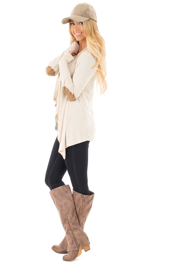 Beige Open Cardigan with Draped Front and Elbow Patch Detail side full body