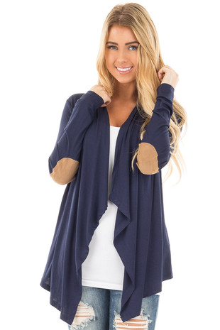 Navy Open Cardigan with Draped Front and Elbow Patch Detail front close up