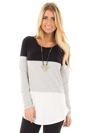 Grey Long Sleeve Stripe with Black and White Color Block Top front close up
